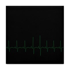 Heart Rate Line Green Black Wave Chevron Waves Tile Coasters by Mariart
