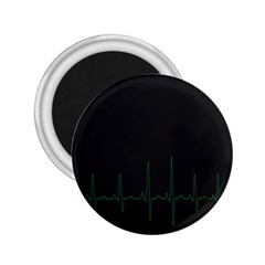 Heart Rate Line Green Black Wave Chevron Waves 2 25  Magnets by Mariart