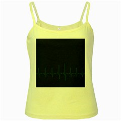 Heart Rate Line Green Black Wave Chevron Waves Yellow Spaghetti Tank by Mariart