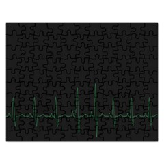 Heart Rate Line Green Black Wave Chevron Waves Rectangular Jigsaw Puzzl by Mariart