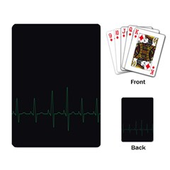Heart Rate Line Green Black Wave Chevron Waves Playing Card by Mariart