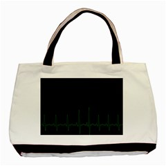 Heart Rate Line Green Black Wave Chevron Waves Basic Tote Bag by Mariart