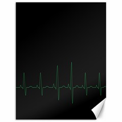 Heart Rate Line Green Black Wave Chevron Waves Canvas 12  X 16   by Mariart