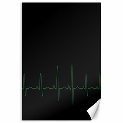 Heart Rate Line Green Black Wave Chevron Waves Canvas 24  X 36  by Mariart