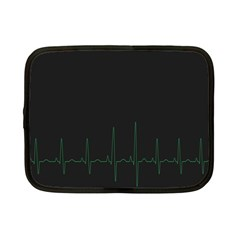 Heart Rate Line Green Black Wave Chevron Waves Netbook Case (small)  by Mariart