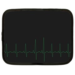 Heart Rate Line Green Black Wave Chevron Waves Netbook Case (large) by Mariart