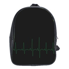 Heart Rate Line Green Black Wave Chevron Waves School Bags(large)