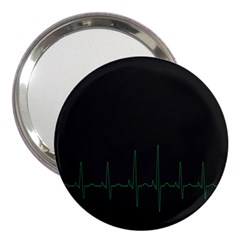 Heart Rate Line Green Black Wave Chevron Waves 3  Handbag Mirrors