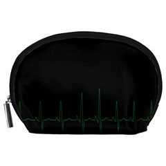 Heart Rate Line Green Black Wave Chevron Waves Accessory Pouches (large)  by Mariart