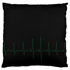 Heart Rate Line Green Black Wave Chevron Waves Large Flano Cushion Case (two Sides) by Mariart