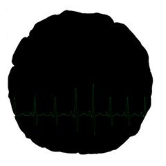 Heart Rate Line Green Black Wave Chevron Waves Large 18  Premium Flano Round Cushions by Mariart
