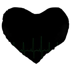 Heart Rate Line Green Black Wave Chevron Waves Large 19  Premium Flano Heart Shape Cushions by Mariart