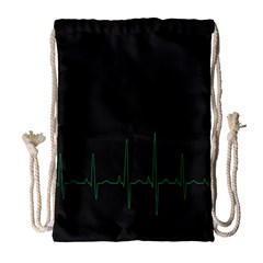 Heart Rate Line Green Black Wave Chevron Waves Drawstring Bag (large) by Mariart
