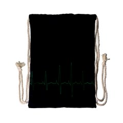 Heart Rate Line Green Black Wave Chevron Waves Drawstring Bag (small) by Mariart