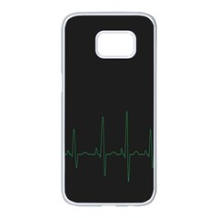 Heart Rate Line Green Black Wave Chevron Waves Samsung Galaxy S7 Edge White Seamless Case by Mariart