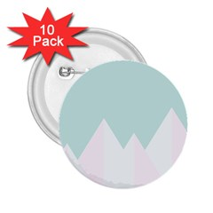 Montain Blue Snow Chevron Wave Pink 2 25  Buttons (10 Pack)