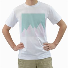 Montain Blue Snow Chevron Wave Pink Men s T-shirt (white) (two Sided) by Mariart