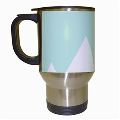 Montain Blue Snow Chevron Wave Pink Travel Mugs (white) by Mariart
