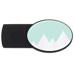 Montain Blue Snow Chevron Wave Pink Usb Flash Drive Oval (4 Gb) by Mariart
