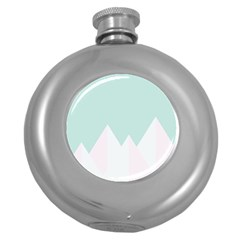 Montain Blue Snow Chevron Wave Pink Round Hip Flask (5 Oz) by Mariart