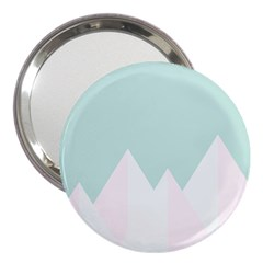 Montain Blue Snow Chevron Wave Pink 3  Handbag Mirrors by Mariart