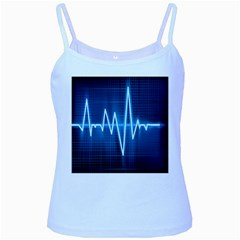 Heart Monitoring Rate Line Waves Wave Chevron Blue Baby Blue Spaghetti Tank by Mariart