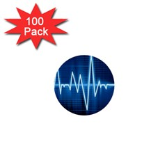 Heart Monitoring Rate Line Waves Wave Chevron Blue 1  Mini Buttons (100 Pack)
