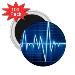Heart Monitoring Rate Line Waves Wave Chevron Blue 2 25  Magnets (100 Pack)  by Mariart