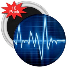 Heart Monitoring Rate Line Waves Wave Chevron Blue 3  Magnets (10 Pack)