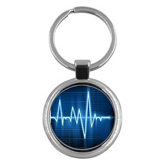 Heart Monitoring Rate Line Waves Wave Chevron Blue Key Chains (round)  by Mariart