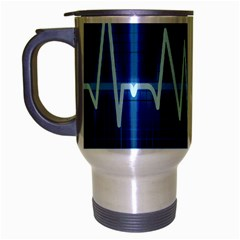 Heart Monitoring Rate Line Waves Wave Chevron Blue Travel Mug (silver Gray) by Mariart