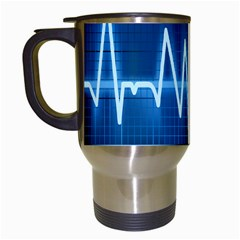 Heart Monitoring Rate Line Waves Wave Chevron Blue Travel Mugs (white) by Mariart