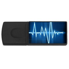 Heart Monitoring Rate Line Waves Wave Chevron Blue Usb Flash Drive Rectangular (4 Gb) by Mariart