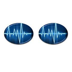 Heart Monitoring Rate Line Waves Wave Chevron Blue Cufflinks (oval) by Mariart