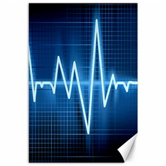Heart Monitoring Rate Line Waves Wave Chevron Blue Canvas 12  X 18   by Mariart