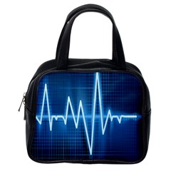 Heart Monitoring Rate Line Waves Wave Chevron Blue Classic Handbags (one Side) by Mariart