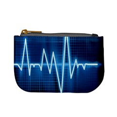 Heart Monitoring Rate Line Waves Wave Chevron Blue Mini Coin Purses