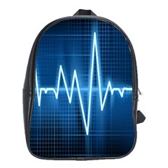 Heart Monitoring Rate Line Waves Wave Chevron Blue School Bags(large)  by Mariart
