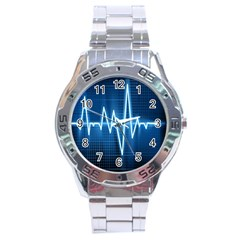 Heart Monitoring Rate Line Waves Wave Chevron Blue Stainless Steel Analogue Watch by Mariart