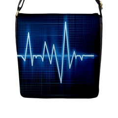 Heart Monitoring Rate Line Waves Wave Chevron Blue Flap Messenger Bag (l)  by Mariart