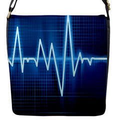 Heart Monitoring Rate Line Waves Wave Chevron Blue Flap Messenger Bag (s) by Mariart