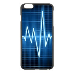 Heart Monitoring Rate Line Waves Wave Chevron Blue Apple Iphone 6 Plus/6s Plus Black Enamel Case by Mariart