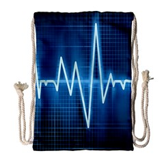 Heart Monitoring Rate Line Waves Wave Chevron Blue Drawstring Bag (large) by Mariart