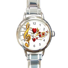 Music Notes Heart Beat Round Italian Charm Watch
