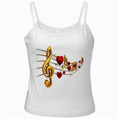 Music Notes Heart Beat White Spaghetti Tank