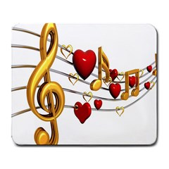 Music Notes Heart Beat Large Mousepads by Mariart