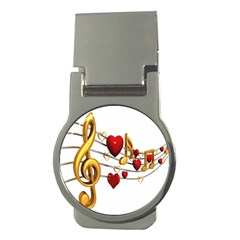 Music Notes Heart Beat Money Clips (round)  by Mariart