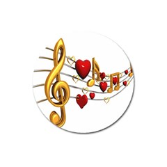 Music Notes Heart Beat Magnet 3  (round)