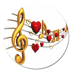 Music Notes Heart Beat Magnet 5  (round) by Mariart