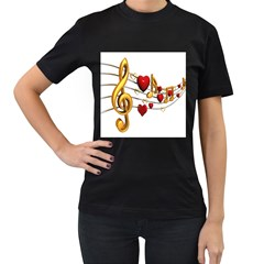 Music Notes Heart Beat Women s T Shirt (black) (two Sided)